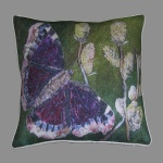 Cushion: Camberwell beauty butterfly with sallow flowers